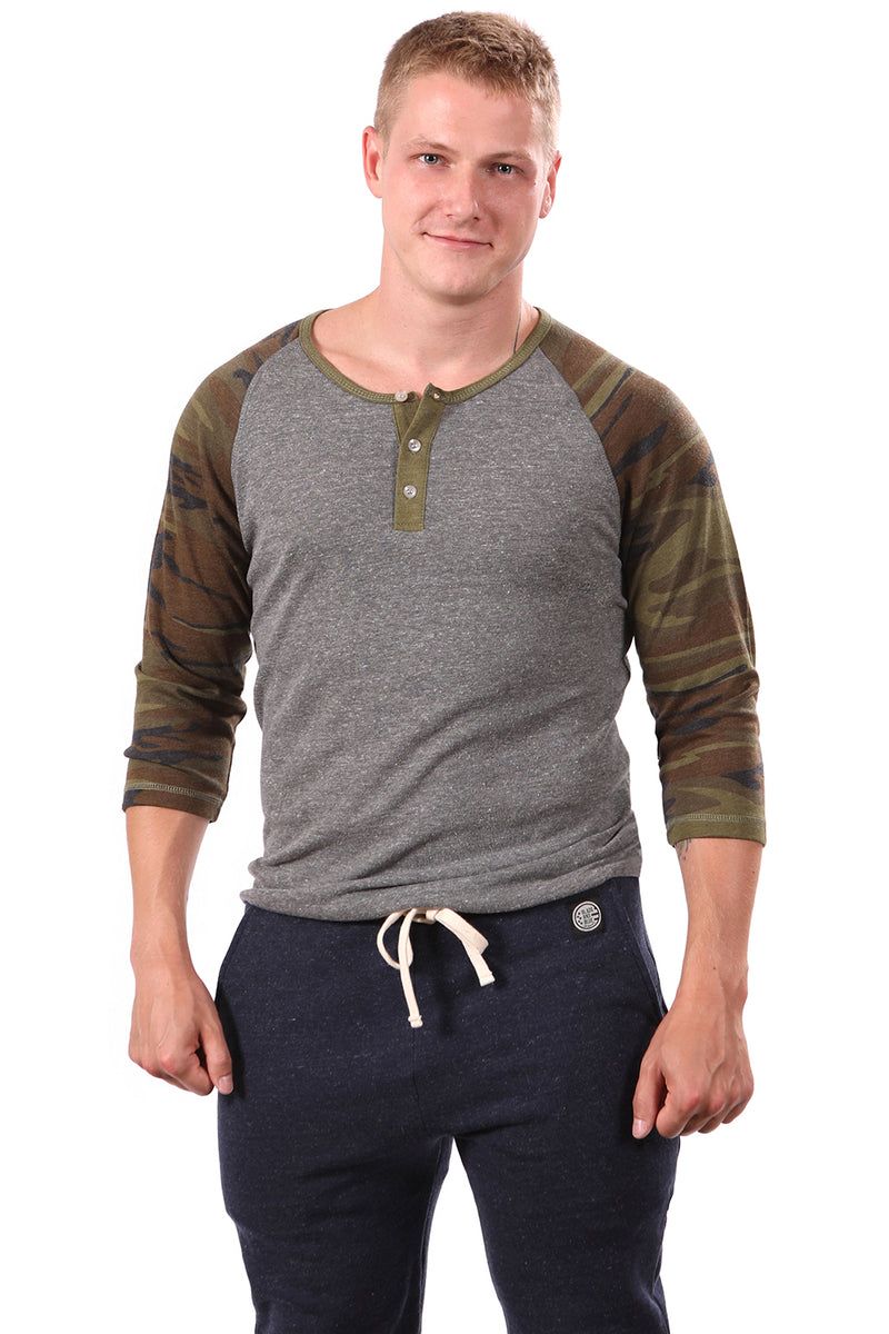 Grey Heather & Camouflage Contrast 3/4 Raglan Sleeve Henley