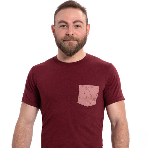 SALE THIS WEEKEND ONLY Burgundy Heather with Pink Dragonflies Print Pocket Tee
