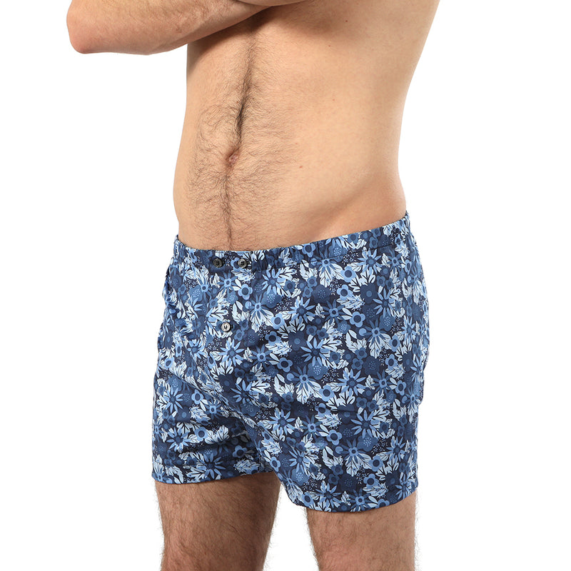 Tonal Blue Wildflowers Print Boxer Short - Sinatra Size L Available