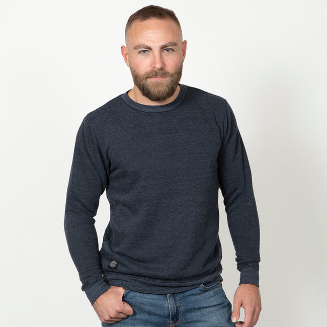Navy Blue Heather Tri-Blend Terry Crewneck Sweatshirt
