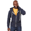 Navy Blue Marled Heather Full Zip Hooded Fleece Sweatshirt - Made in USA