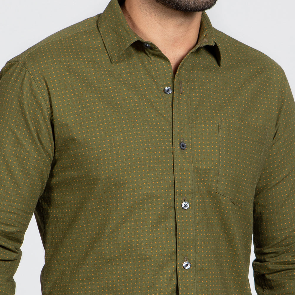 ON SALE THIS WEEK ONLY: Olive Green Japanese Micro Star Print Shirt - 'Gibson' Sizes S & L Available