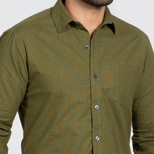 Olive Green Japanese Micro Star Print Shirt - 'Gibson'