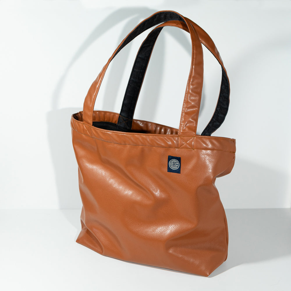 Natural Tan 'Faux' Leather & Grey Denim Reversible Tote Bag