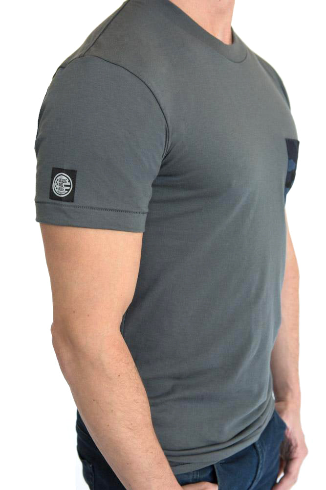 Grey with Blue & Black Camo Print Pocket Tee - One Piece Size XXL  Available