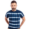 Navy Blue & White Shibori-Inspired Tie Dye Tee - Size S Available