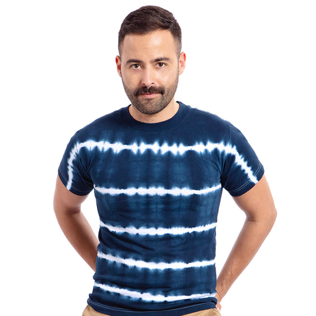 Navy Blue & White Shibori-Inspired Tie Dye Tee