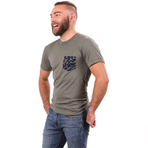 SALE THIS WEEKEND ONLY Olive Heather With Japanese Indigo Sticks Print Pocket Tee