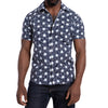 Graffiti Inspired Blue & White Inky Japanese Floral Print Shirt - Jack