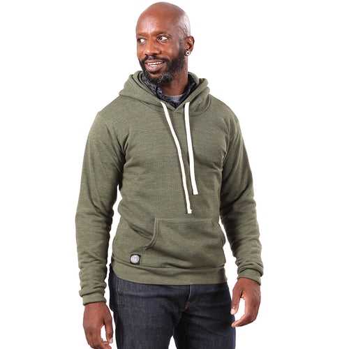 Olive Green Popover Hooded Fleece Sweatshirt - Made in USA Size S Available