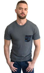 SALE THIS WEEKEND ONLY Grey with Blue & Black Camo Print Pocket Tee