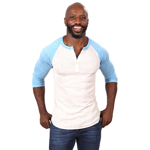 Oatmeal Heather & Light Blue Contrast 3/4 Raglan Sleeve Tri-Blend Henley