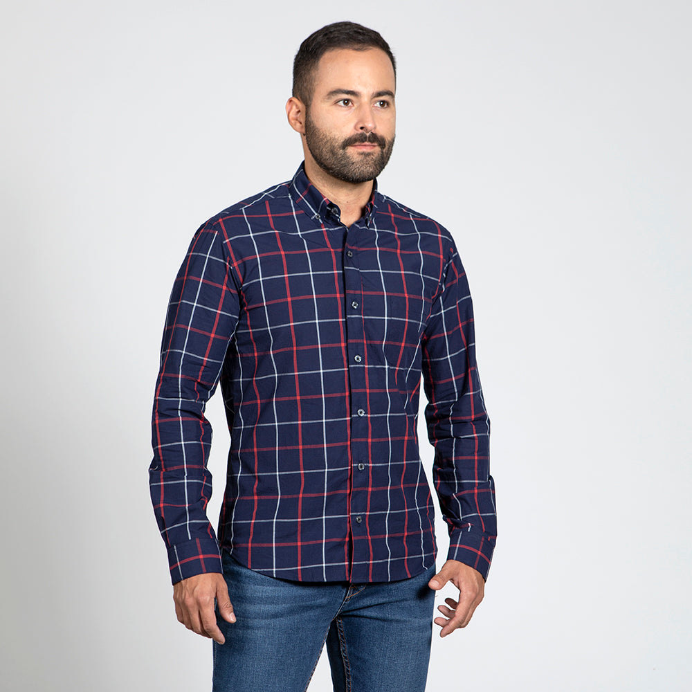 Navy Blue With Red & White Windowpane Shirt - 'Mack' One Piece Size XL Available