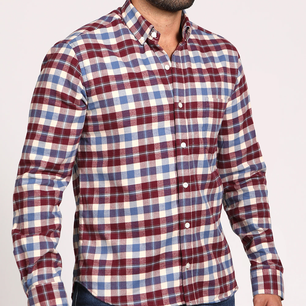 White, Burgundy & Pale Blue Brushed Flannel Plaid Shirt - 'Marsden' Size L & XXL Available