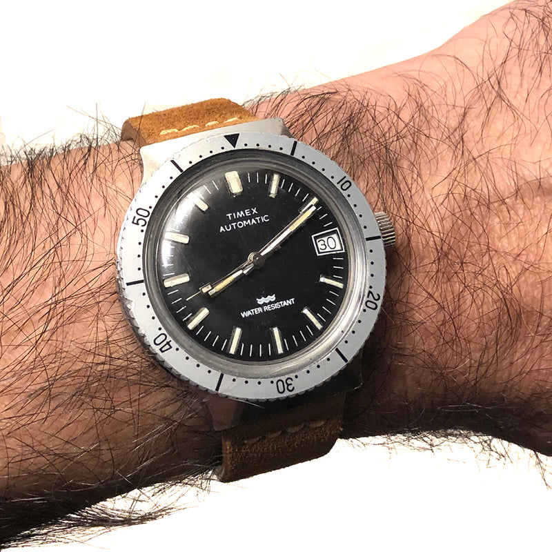Vintage 1980 Timex Diver Style with Date Keeper Automatic Watch