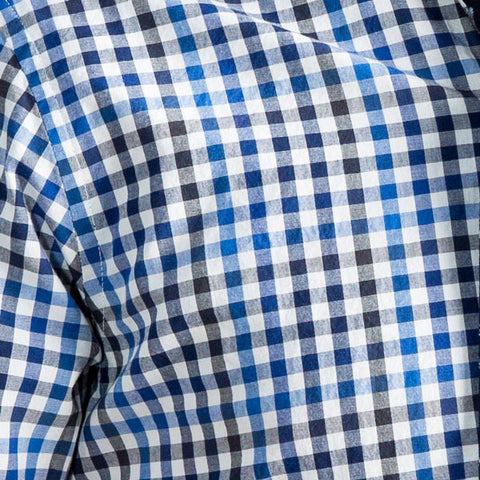 White, Royal & Navy Blue Grid Plaid Shirt -  Armie