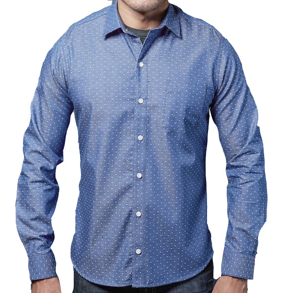 Blue Chambray With Mini Dot Shirt - Arne