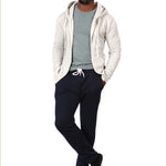 White Heather Salt & Pepper Full Zip Hooded Fleece Sweatshirt - Made in USA