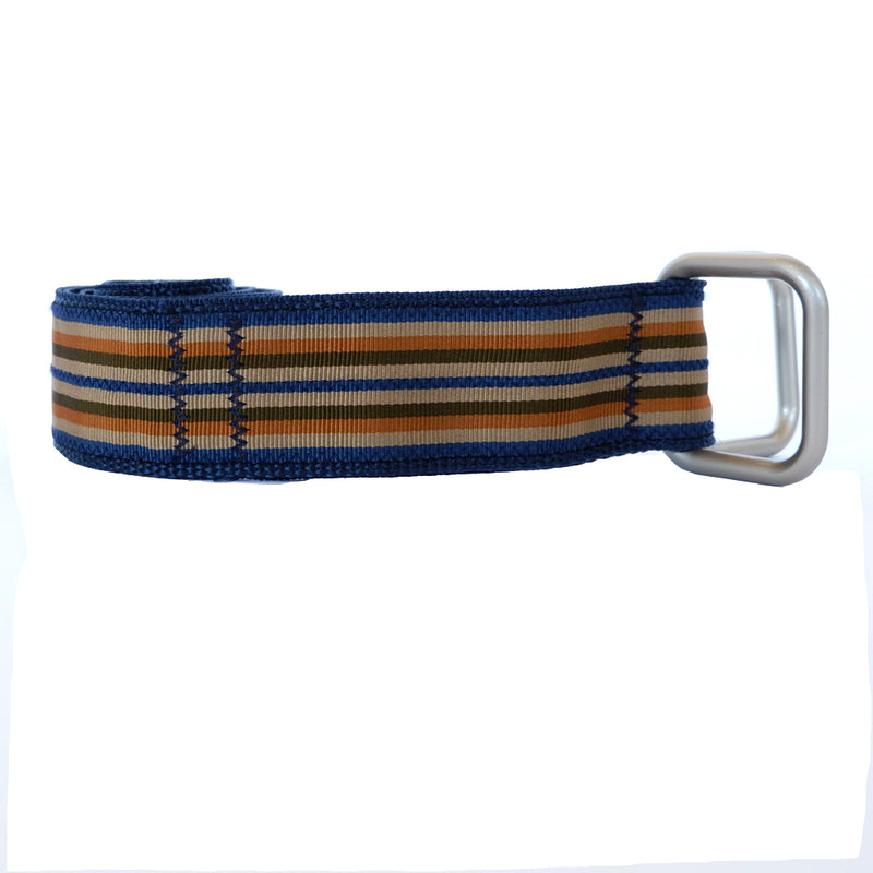 Navy & Khaki Multi Stripe Belt by One Magnificent Beast