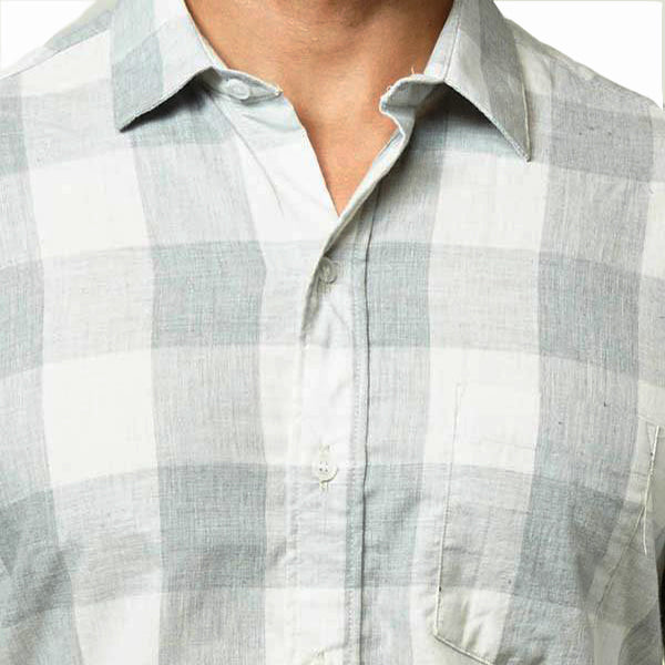 Grey Heather & White Buffalo Check Shirt -  'Bert'