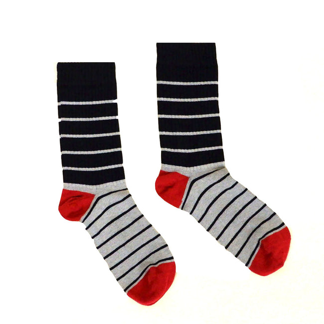 Black, Grey & Red Colorblocked Stripe Socks