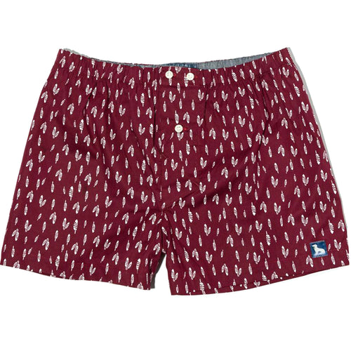 Burgundy Feather Print Boxer Short - Blacksmith