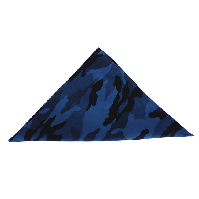 Blue & Black Camouflage Print Pocket Square