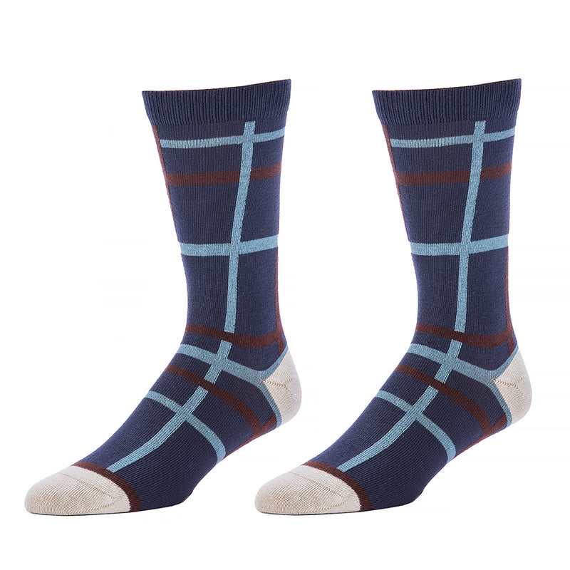 Indigo Blue, Ice Blue & Chocolate Open Windowpane Pattern Socks