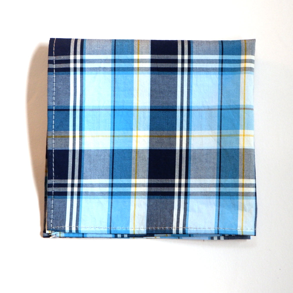 Tonal Blue Plaid Cotton Tie