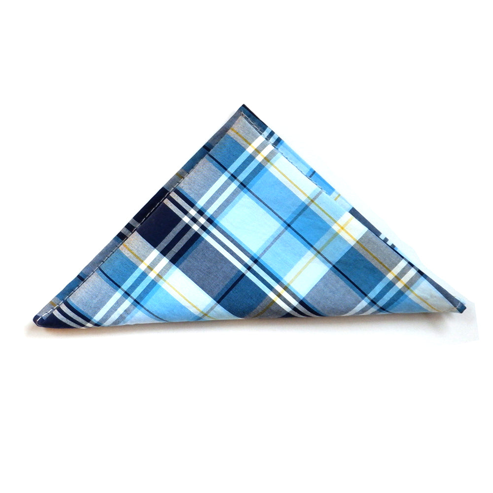 Tonal Blue Plaid Cotton Pocket Square