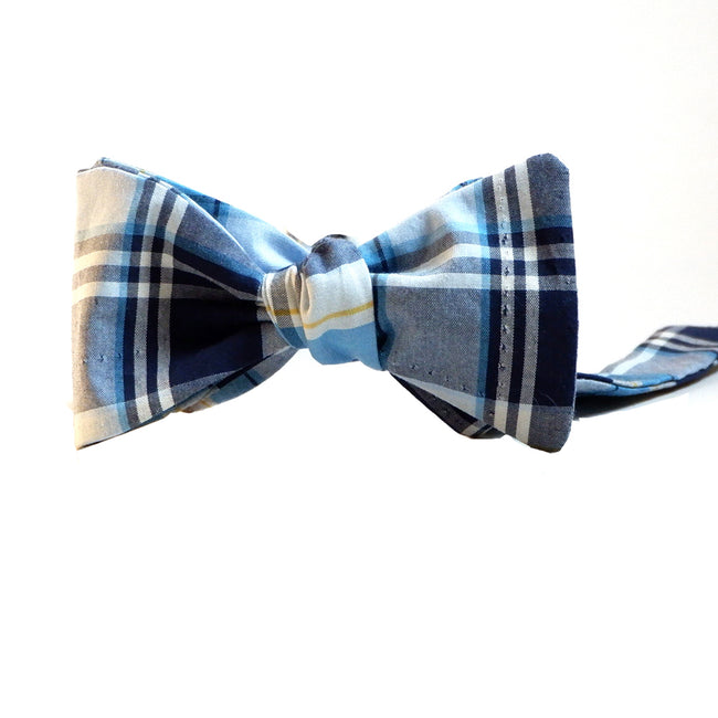 Tonal Blue Plaid Cotton Bow Tie