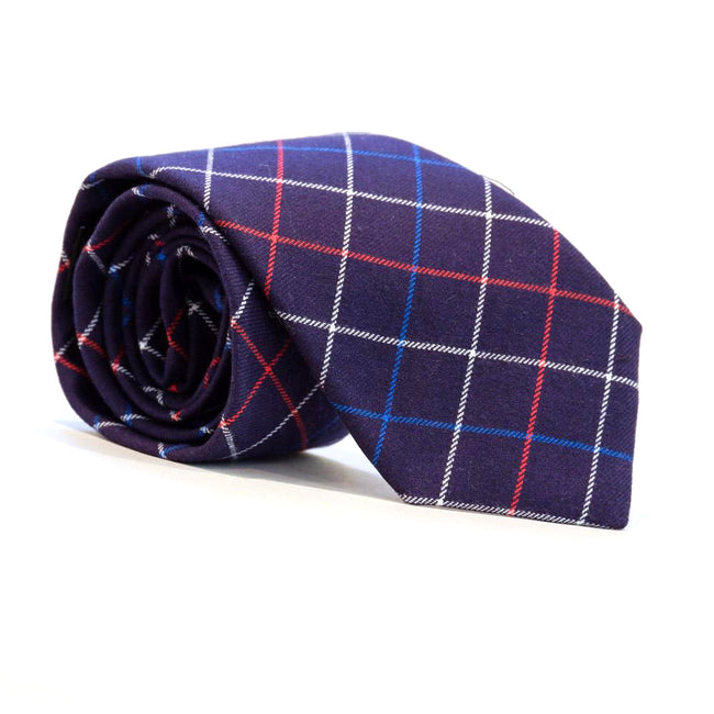 Navy, White & Red Plaid Brushed Cotton Tie