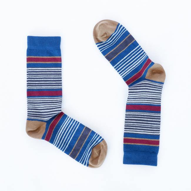 Blue, Burgundy & Khaki Variegated Stripe Socks