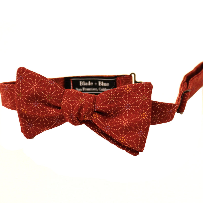 Red Geometric Floral Print Cotton Bow Tie