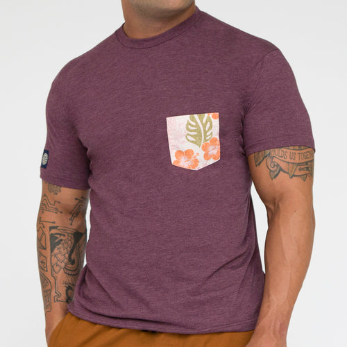 SALE THIS WEEKEND ONLY Purple Heather with Hibiscus Print Pocket Tee