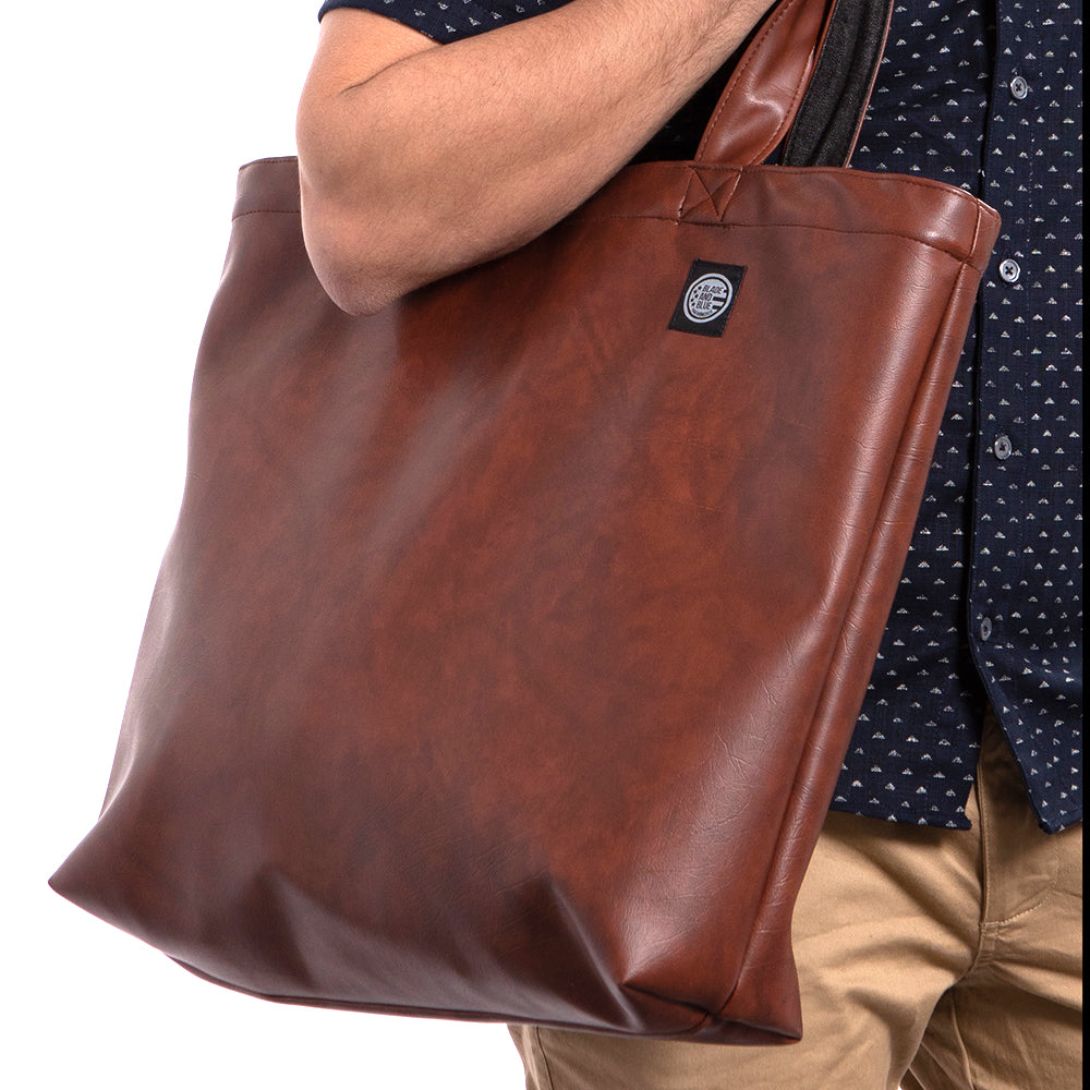 Walnut Brown 'Faux' Leather & Grey Denim Reversible Tote Bag