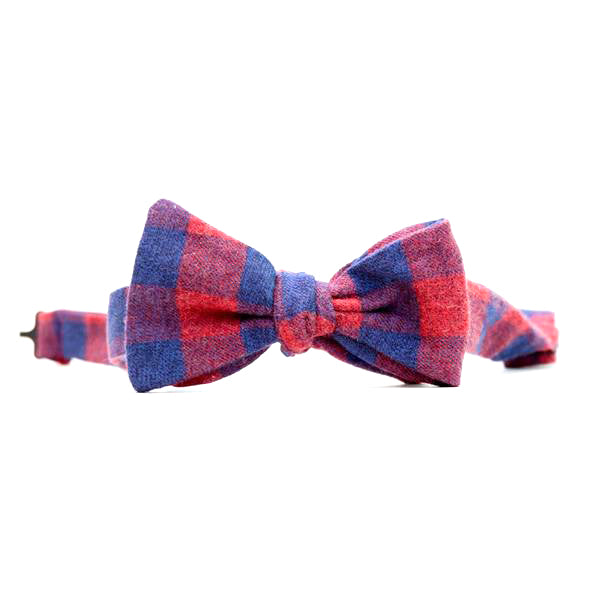 Burgundy & Navy Blue Buffalo Check Bow Tie