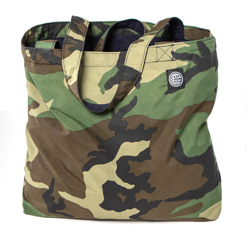 Green Camouflage & Brushed Navy Cotton Reversible Tote Bag