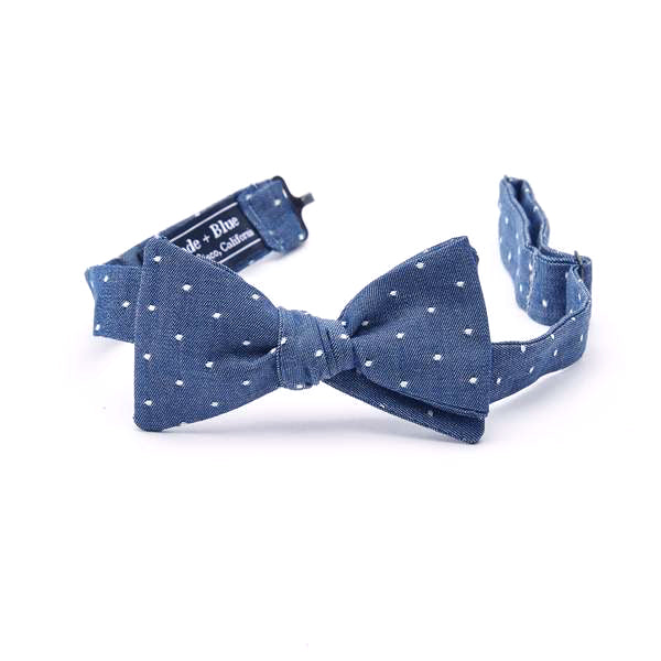 Blue Chambray with Dot Bow Tie