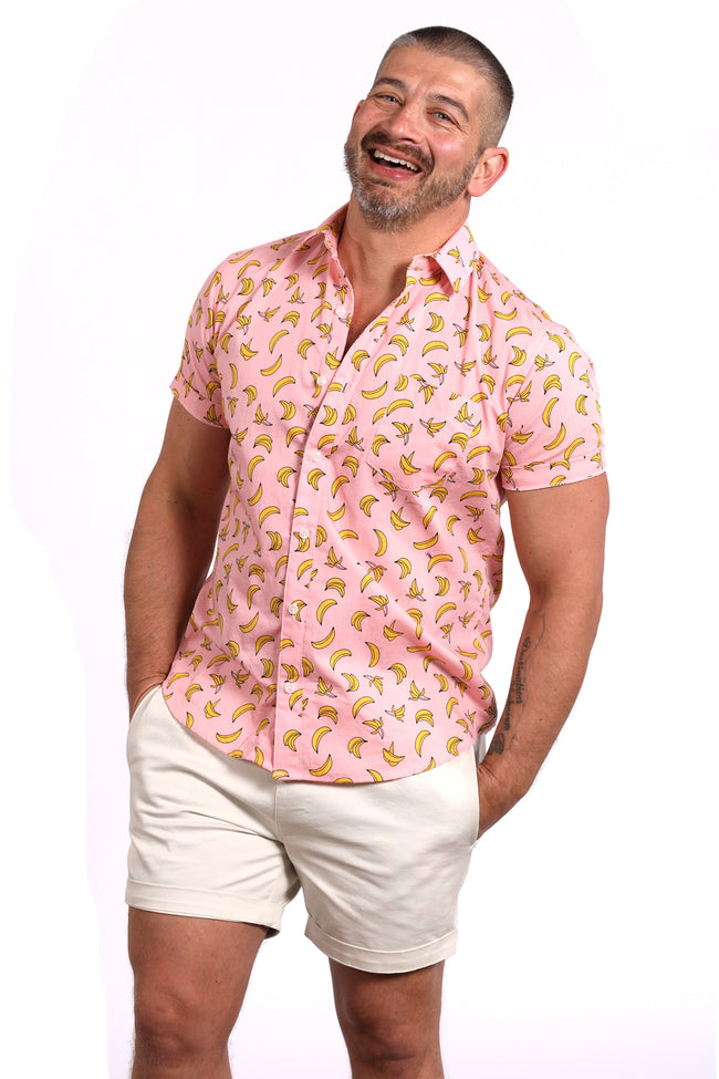 Pink Banana Print Short Sleeve Shirt - Jerry