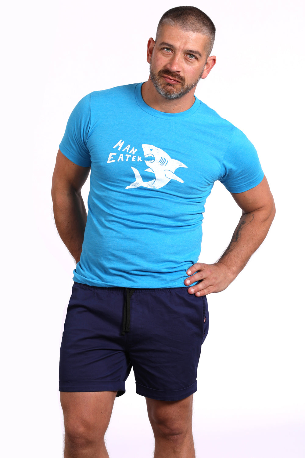 Provincetown Aqua 'ManEater' Shark Tee One Piece Size M Available