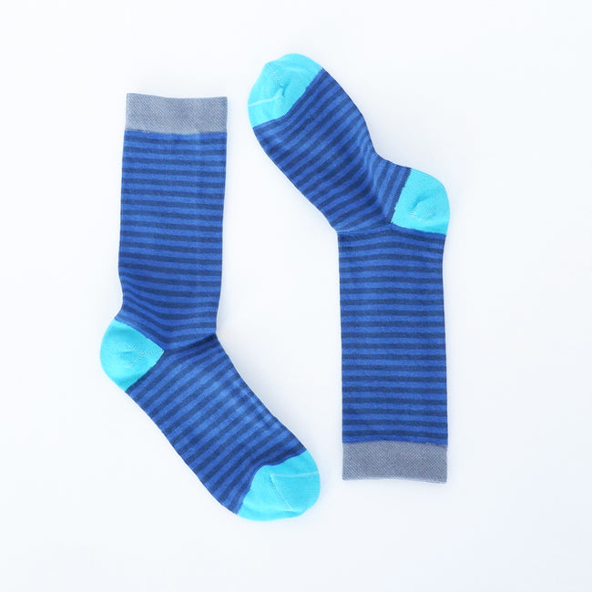 Cobalt & Navy Blue Mini Stripe Socks