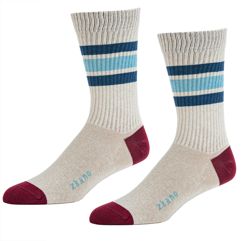 Natural With Blue & Burgundy College Stripe Ribbed Crew Socks