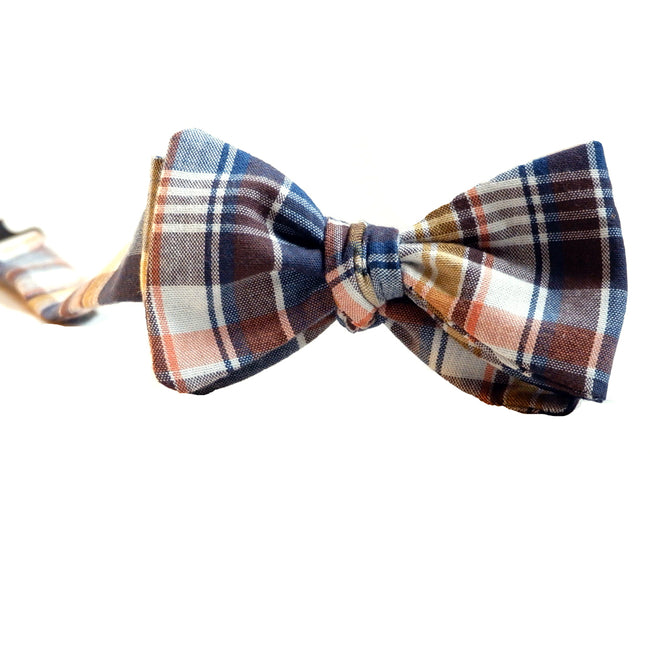 Royal Blue, Gold & Coral Plaid Cotton Bow Tie