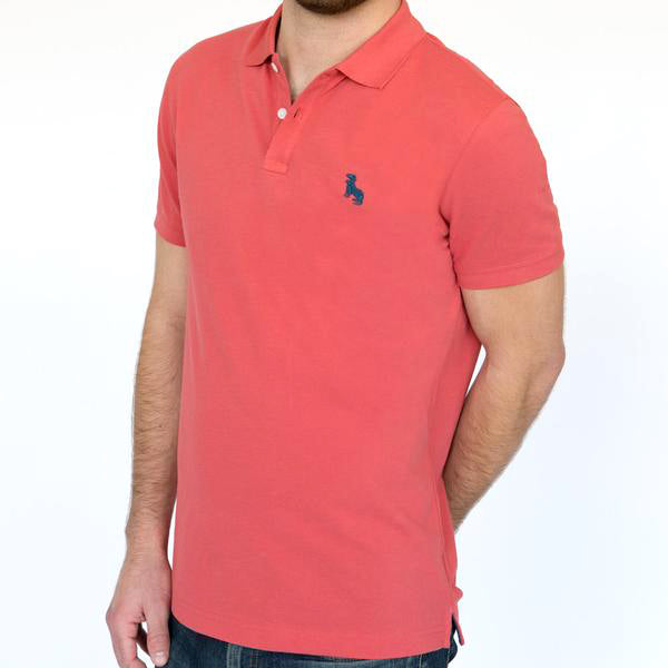 Coral Red Cotton Pique Polo Size L Available