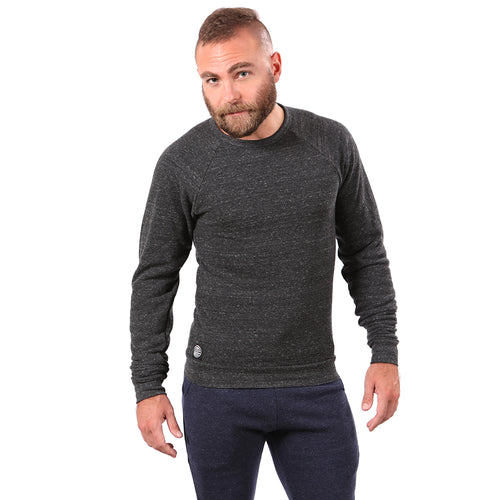 Charcoal Grey Marled Raglan Sleeve Crewneck Sweatshirt - Made in USA Sizes S & M Available