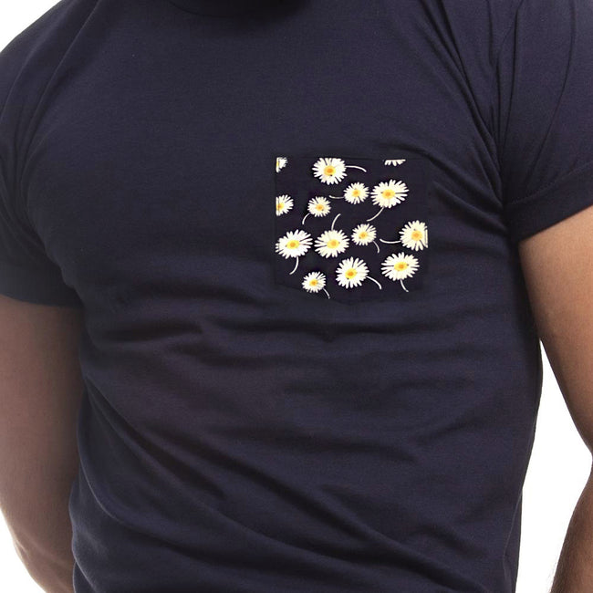 Navy with Daisy Print Pocket Tee