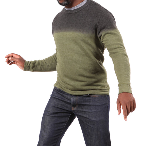Olive Green & Charcoal Grey Dip Dye Crewneck Sweatshirt - Made in USA
