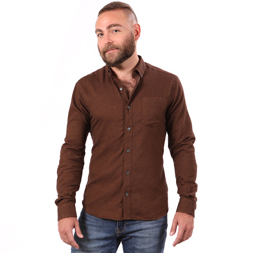 Chocolate Brown Melange Brushed Cotton Shirt - 'George'