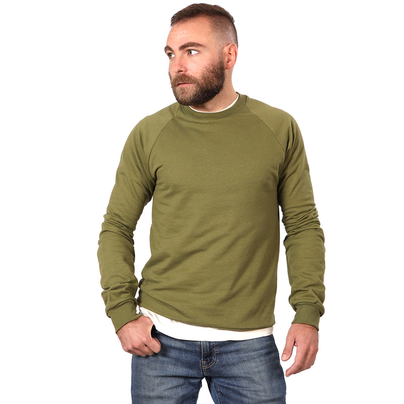 Organic Cotton Bright Olive  Raglan Sleeve Crewneck Sweatshirt - Made in USA Sizes M, XL & XXL Available